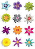Abstract flower icons Royalty Free Stock Image