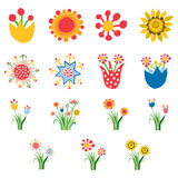 Abstract flower icons. Set of colorful flat abstract flower icons on white Royalty Free Stock Photos