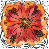 Abstract flower II. Watercolour painting and ink drawing on rough mould made paper, created and painted by the photographer Royalty Free Stock Photo
