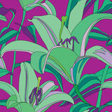 Abstract flower lily seamless pattern in Hawaii st Royalty Free Stock Photo