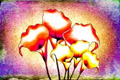 Abstract flower oil painting fun art illustration design. Abstract flower oil painting art illustration design good for any design or project Stock Photography