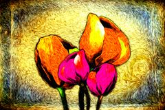 Abstract flower oil painting fun art illustration design. Abstract flower oil painting art illustration design good for any design or project Stock Images