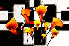 Abstract flower oil painting fun art illustration design. Abstract flower oil painting art illustration design good for any design or project Royalty Free Stock Images