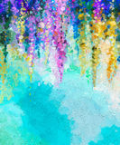 Abstract flower oil painting background. Abstract oil painting of spring flowers. Hand painted violet, yellow and red flowers in soft color on blue green color Stock Photo