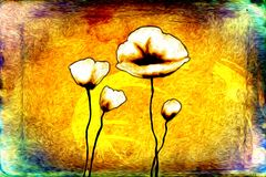 Abstract flower oil painting fun art illustration design. Abstract flower oil painting art illustration design good for any design or project Stock Image