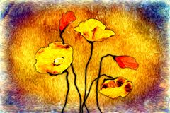 Abstract flower oil painting fun art illustration design. Abstract flower oil painting art illustration design good for any design or project Royalty Free Stock Photos