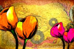 Abstract flower oil painting fun art illustration design. Abstract flower oil painting art illustration design good for any design or project Royalty Free Stock Photography