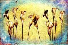 Abstract flower oil painting fun art illustration design. Abstract flower oil painting art illustration design good for any design or project Stock Photo