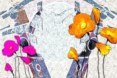 Abstract flower oil painting fun art illustration design. Abstract flower oil painting art illustration design good for any design or project Stock Photos
