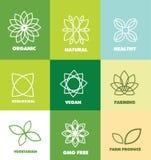 Abstract flower organic natural food logo badge Stock Photos
