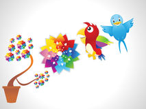 Abstract flower with parrot & bird Stock Image