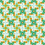Abstract flower pattern. Modern abstract seamless flower pattern witt leafs and circles Stock Photo