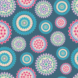 Abstract flower pattern. Abstract seamless flower pattern on dark blue background Stock Images