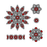 Abstract Flower Patterns. Decorative ethnic elements for design. Stock Photo