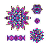 Abstract Flower Patterns. Decorative ethnic elements for design. Stock Photography