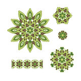 Abstract Flower Patterns. Decorative ethnic elements for design. Royalty Free Stock Images