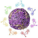 Abstract flower planet with bicycles on a white background Royalty Free Stock Photos