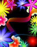 Abstract flower and ribbon. On a black background vector illustration