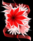 Abstract flower and ribbon. On a black background royalty free illustration