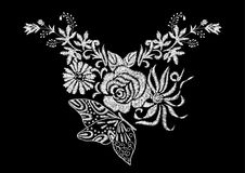 Abstract flower with rose and butterfly embroidery artwork. Design for neckline clothing, isolated vector on black background stock illustration