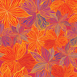 Abstract flower Seamless Vector Background Texture. Floral seamless background in 60s style, Red and orange flowers. 1960s texture Stock Photography