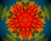 Abstract flower shape mandala. Small extruded square forming flower and 5 sided star shape in the middle. Red, orange, green, blue Royalty Free Stock Photo