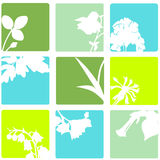 Abstract Flower Squares. Abstract set of vector brightly colored flowers and plants in aquares Stock Image