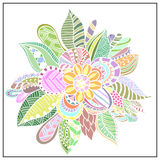 Abstract flower in the style of Doodle. Royalty Free Stock Photo