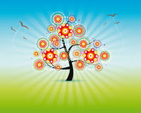 Abstract flower tree. Illustration of a decorative tree with flowers and flying birds Royalty Free Stock Image