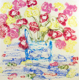 Abstract Flower Vase Painting. Abstract Floral Painting, oil sticks on canvas paper monoprint royalty free illustration