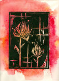Abstract Flowers. Black lino cut on red watercolour background, created and painted by the photographer Stock Photos