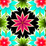 Abstract flowers. On a black background royalty free illustration