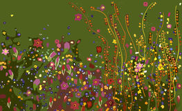Abstract Flowers. On green background, vector illustration Stock Photography