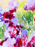 Abstract flowers of acrylic painting on canvas. Abstract flowers, creative abstract hand painted background, close-up fragment of acrylic painting on canvas Royalty Free Stock Images