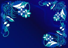 Abstract flowers background. Blue and white abstract flowers background royalty free illustration