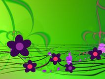 Abstract flowers background. Green fractals background with purple flowers Royalty Free Stock Photography