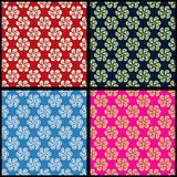 Abstract flowers background collection of retro style vector illustration Royalty Free Stock Photos