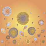 Abstract flowers. Background with abstract flowers in yellow and orange color Stock Image
