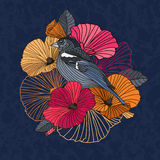 Abstract  flowers and bird in the garden. Red and orange  on a dark  background Stock Images