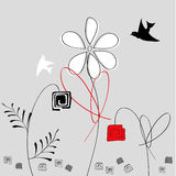 Abstract flowers with birds. Universal template for greeting card, web page, background Stock Photos