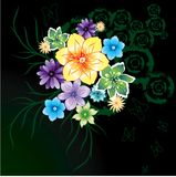 Abstract flowers on black background Stock Photos