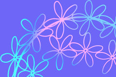 Abstract Flowers on Blue Royalty Free Stock Image
