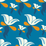 Abstract flowers on a blue background vector illustration Royalty Free Stock Image