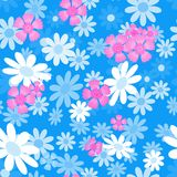 Abstract flowers blue05-01. Cute abstract seamless pattern with small colorful chamomile flowers,carnation on the lilac background.Summer floral vector Royalty Free Stock Images