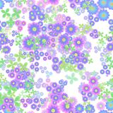 Abstract flowers, Blue, pink, purple and green floral pattern, Leaves and blooms, Seamless petal leafy texture background Stock Images
