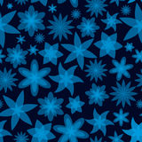 Abstract flowers blue seamless pattern Royalty Free Stock Photos