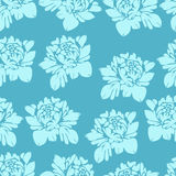 Abstract flowers in blue tones, seamless pattern. Vintage floral background. Light  buds on a dark  . For the fabric design, wallp Royalty Free Stock Photo