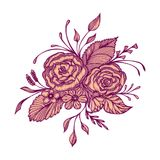 Abstract flowers bouquet with embroidery handmade effect in burgundy pink on white. For decoration clothes or package and for others things vector illustration