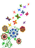 Abstract flowers with butterflies. Colorful summer flowers with butterflies flying Royalty Free Stock Photography
