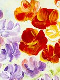 Abstract flowers, close-up fragment of acrylic painting on canvas. Creative abstract hand painted background. Texture, background, wallpaper. Modern art royalty free illustration